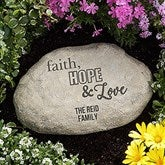 Faith, Hope & Love Personalized Garden Stone - 18193