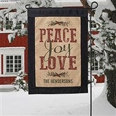 Peace, Joy, Love Personalized Burlap Garden Flag - 18201
