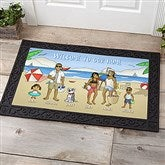 Summer Fun Family Characters Personalized Doormat- 20x35 - 18209-M