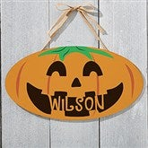 Happy Jack O' Lantern Personalized Oval Wood Sign - 18254