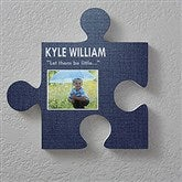 Name & Photo Personalized Puzzle Piece Wall Décor- Textured Design - 18257