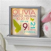 Sweet Baby Girl Personalized LED Light Shadow Box- 6