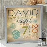 Sweet Baby Boy Personalized LED Light Shadow Box- 10