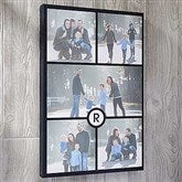 Personalized 5 Photo and Initial Collage Canvas Print- 12