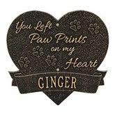 Paw Print Pet Memorial Personalized Aluminum Heart Wall Plaque - 18351D-W