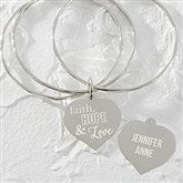 Faith, Hope & Love Personalized Heart Charm Bangle Bracelet - 18377