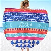 Bohemian Chic Personalized Round Beach Towel - 18381