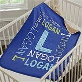 Repeating Name Personalized Premium Sherpa Baby Blanket - 18402