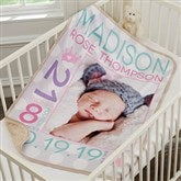 Sweet Baby Girl Personalized Sherpa Photo Blanket - 18405-P