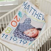 Sweet Baby Boy Personalized Premium Sherpa Photo Blanket - 18406-P