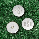 Silver Engraved Personalized Golf Ball Markers Set of 3- Monogram - 18418-M
