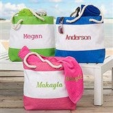 Colorful Embroidered Beach Tote- Name - 18419-N