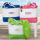 Colorful Embroidered Beach Tote- Monogram - 18419-M