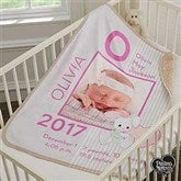 Precious Moments® Baby Girl Personalized Premium Sherpa Photo Blanket - 18456