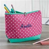 Pink Polka Dot Embroidered Pencil Case - 18461