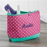 Pink Polka Dot Embroidered Cosmetic Bag - 18462