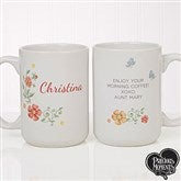 Precious Moments® Floral Personalized Coffee Mug 15 oz.- White - 18471-L