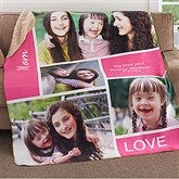 Family Love Photo Collage Personalized Premium 60x80 Sherpa Blanket - 18492-L
