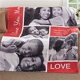 Family Love Photo Collage Personalized 60x80 Fleece Photo Blanket - 18493-L
