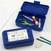 Stencil Name Personalized Blue Pencil Box - 18513-B
