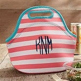 Insulated Coral & White Striped Embroidered Lunch Bag- Monogram - 18526-M