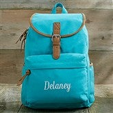 Turquoise Washed Canvas Embroidered Backpack- Name - 18527-N