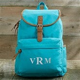 Turquoise Washed Canvas Embroidered Backpack- Monogram - 18527-M