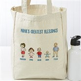 Grandchildren Character Collection Personalized Petite Canvas Tote Bag - 18541