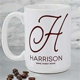 Initial Accent Personalized Coffee Mug 15 oz.- White - 18544-L