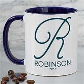 Initial Accent Personalized Coffee Mug 11 oz.- Blue - 18544-BL