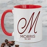 Initial Accent Personalized Coffee Mug 11 oz.- Red - 18544-R