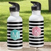 Modern Stripe Personalized Water Bottle - 18554