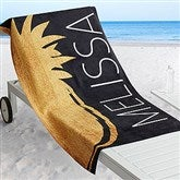 Golden Pineapple Personalized Beach Towel - 18567