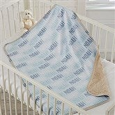 Modern Boy Name Personalized Sherpa Baby Blanket - 18582