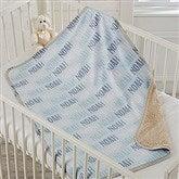 Modern Boy Name Personalized Sherpa Baby Blanket - 18582