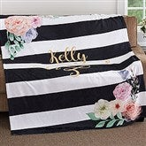 Floral Name Personalized 60x80 Fleece Blanket - 18611-L