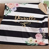 Floral Name Personalized Premium 60x80 Sherpa Blanket - 18612-L