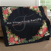 Posh Floral Personalized Woven Throw - 18624