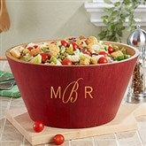 Classic Celebrations Personalized Red Bamboo Bowl- Large Monogram - 18689-LM