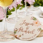 Modern Floral Wedding Personalized Paper Coasters - 18703