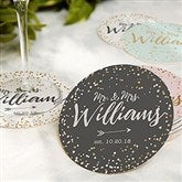 Sparkling Love Personalized Wedding Paper Coasters - 18704