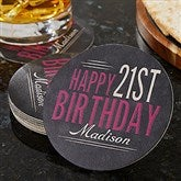 Vintage Birthday Personalized Paper Coasters - 18706