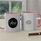 Name Meaning Personalized Geometric Coffee Mug 11 oz.- Pink - 18720-P