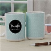 Name Meaning Personalized Geometric Coffee Mug 15 oz.- White - 18720-L
