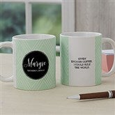 Name Meaning Personalized Geometric Coffee Mug 11 oz.- White - 18720-S