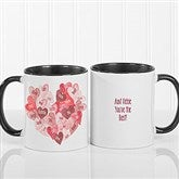 Our Hearts Combined Personalized Coffee Mug 11 oz.- Black - 18721-B