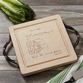 Handwritten Recipe Personalized Maple Leaf Square Cutting Board-Handles - 18729D-H