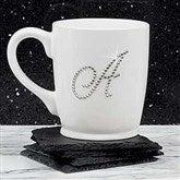 Rhinestone Monogram Bistro Coffee Mug- White - 18766-W