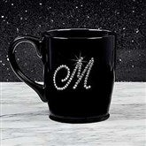 Rhinestone Monogram Bistro Coffee Mug- Black - 18766-B