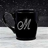 Rhinestone Monogram Bistro Coffee Mug- Black - 18766-B
